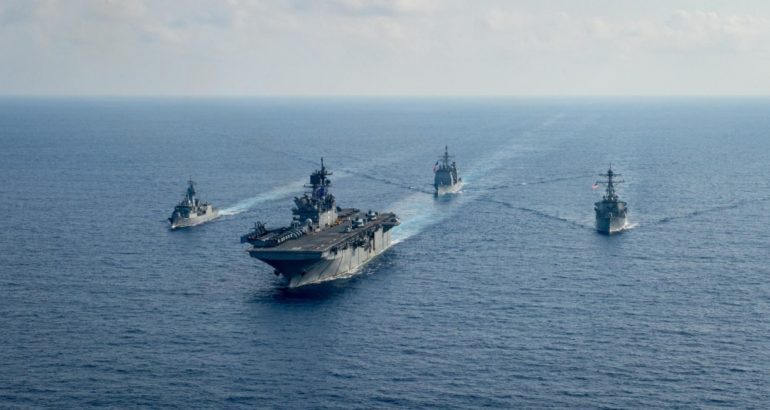 U.S. Navy and Royal Australian Navy Team Up In The South China Sea 1
