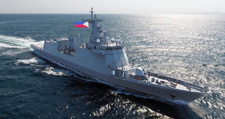 BRP Jose Rizal frigate sailing to join the Philippines. HHI picture.