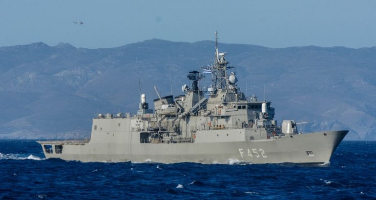 Hydra frigate sailing from the Salamis naval base