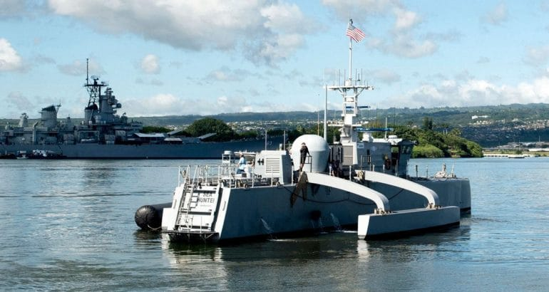 Medium Displacement Unmanned Surface Vehicle (MDUSV) prototype Sea Hunter. Photo Credit: US Navy