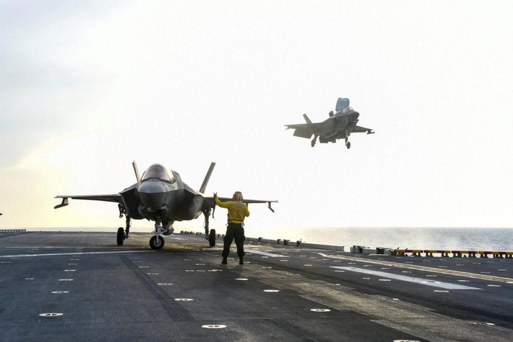 USMC F-35Bs USS America with unarmed Sidewinder wingtip pylons