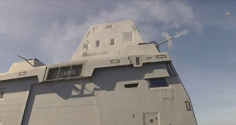 USS Zumwalt Test-Fires its 30mm Mark 46 MOD 2 Gun Weapon System for the 1st Time
