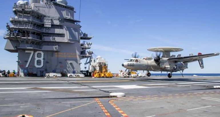 E-2D landing on USS Gerald R. Ford CVN 78. U.S. Navy Picture.