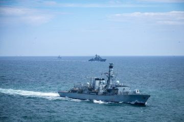 HMS Westminster shadowed Russian destroyer through the English Channel