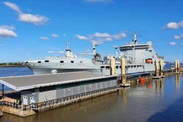 Royal Navy replenishment Tanker 'Tiderace' returns to sea after a revamp