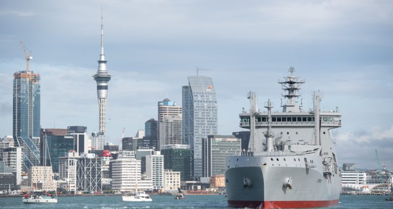 Royal New Zealand Navy's New Fleet Tanker Aotearoa Sails Into Auckland Harbour