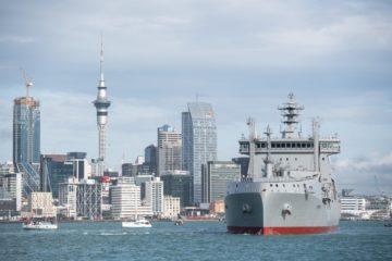 Royal New Zealand Navy's New Fleet Tanker Aotearoa Sails Into Auckland Harbor
