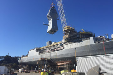 Third ANZAC-class Frigate gets her new mast as part of AMCAP upgrade