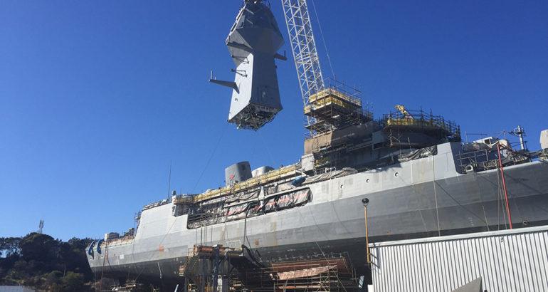 Third Anzac-class Frigate gets her new mast as part of AMCAP upgrade
