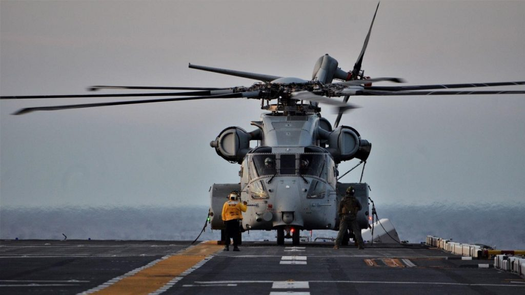 USMC CH-53K King Stallion completes first sea trials aboard USS Wasp