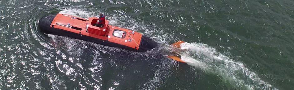 Dry Combat Submersible undergoing sea trials