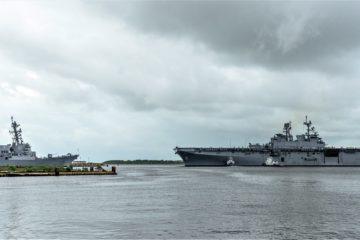 Amphibious Assault Ship Tripoli (LHA 7) Sails Away from Ingalls Shipbuilding