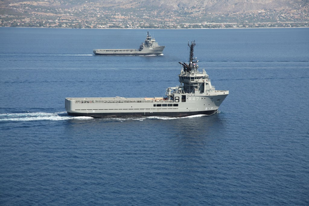 General Support Ships HS Iraklis and HS Atla I. Hellenic Navy photo.