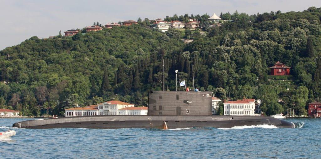 Russian Kilo Class submarine Rostov-on-Donpassing south through the Bosporus on June 23