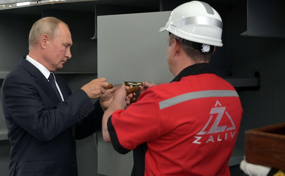 President of the Russian Federation Vladimir Putin at the official laying ceremony at the Zaliv Shipyard LLC for the Russian Navy of the Ivan Rogov and Mitrofan Moskalenko universal landing ships of project 23900