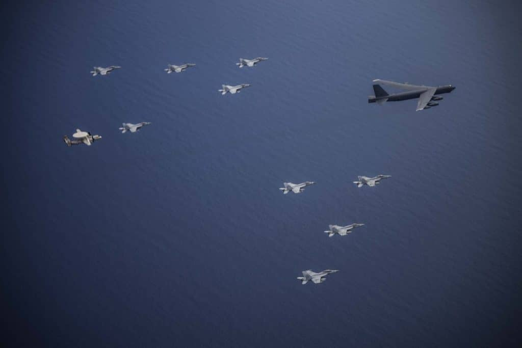 USAF B-52 Conducts Maritime Integration Exercise with 2 US Navy CSG in the South China Sea