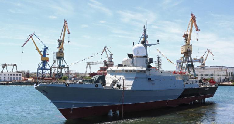 Zaliv shipyard Launched the 4th Karakurt-class Corvette 'Tsiklon' For Russian Navy
