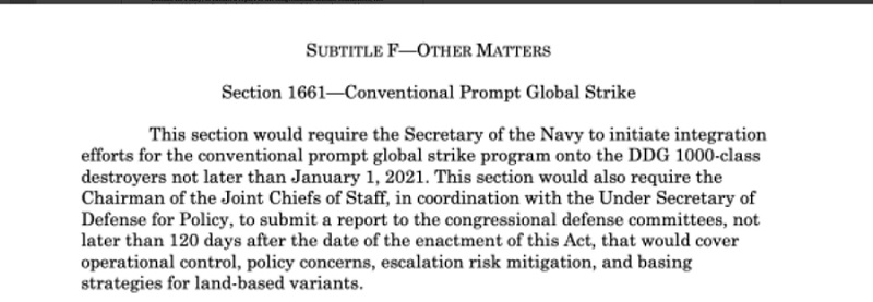 Conventional Prompt Global Strike for DDG 1000