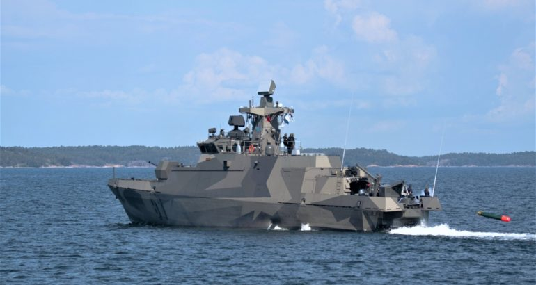 Finnish Navy Hamina-class Fast-Attack Craft fires Torpedo for the First Time