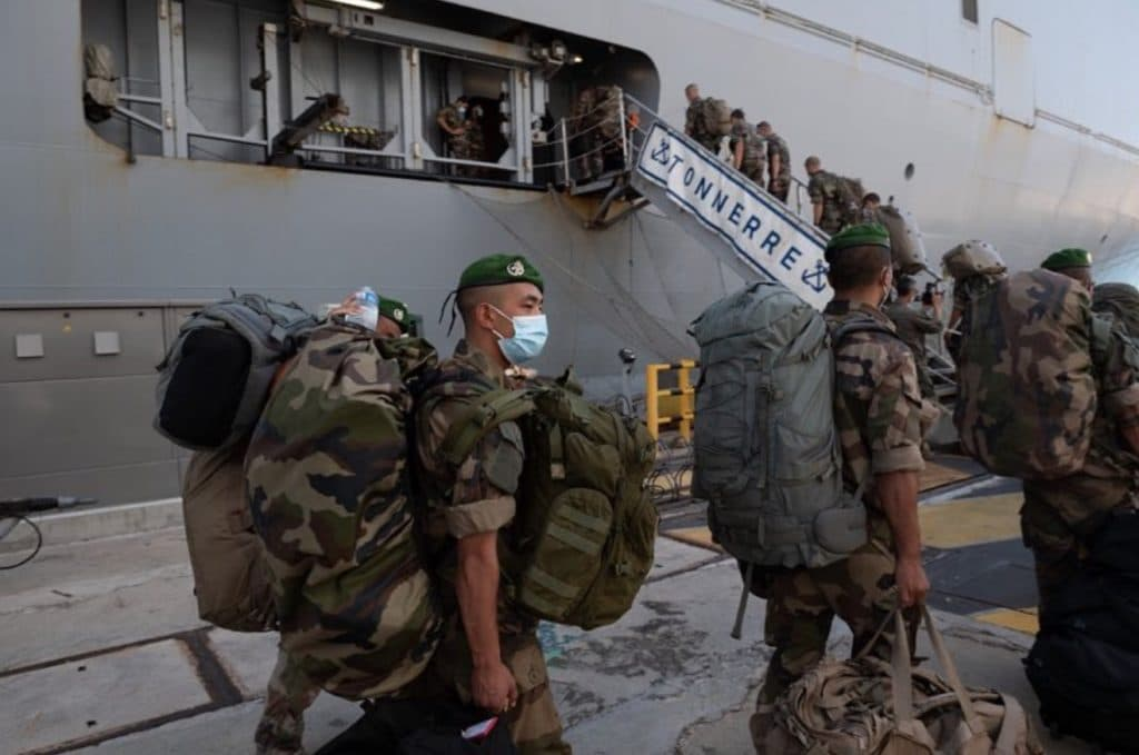 French Navy Mistral-class LHD Tonnerre departs for Beirut