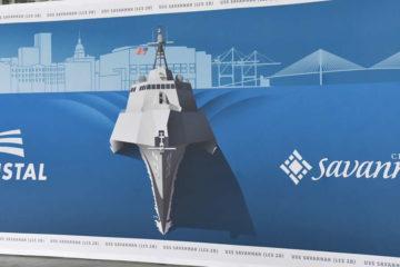 The Future USS Savannah (LCS 28) Christened at Austal USA