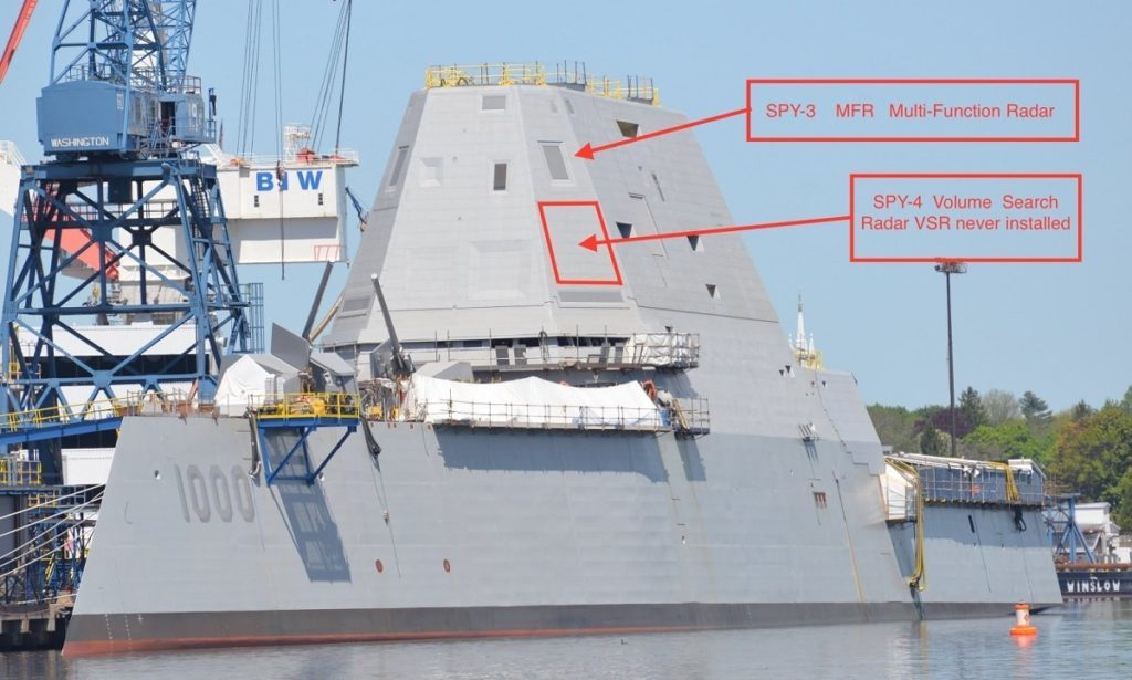 USS Zumwalt superstructure radar panel placement: SPY-3 MFR and SPY-4