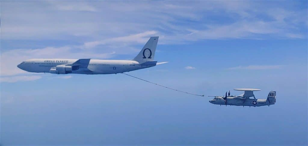 An E-2D Advanced Hawkeye with VAW-120 is refueled in the air. US Navy Photo