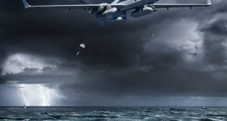 For ASW missions, the SeaGuardian can carry two to four sonobuoys dispensers under its wings.