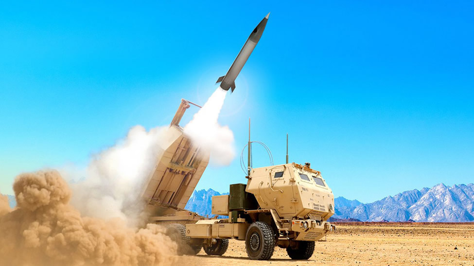 Rendering of a HiMARS truck firing a Precision Strike Missile