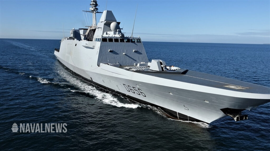 Alsace, the first of the two FREMM DA for the French Navy, during sea trials