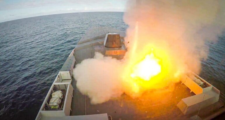 French Navy Frigate 'Bretagne' Test Fires Naval Cruise Missile