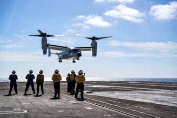 Photos: U.S. Navy CMV-22B Osprey Lands on an Aircraft Carrier for the First Time