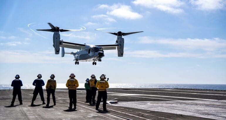 U.S. Navy CMV-22B Osprey Lands on an Aircraft Carrier for the First Time