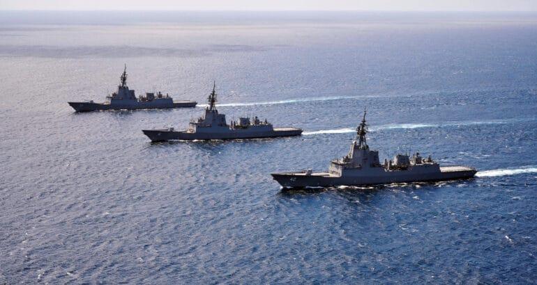 Three RAN Destroyers In Formation