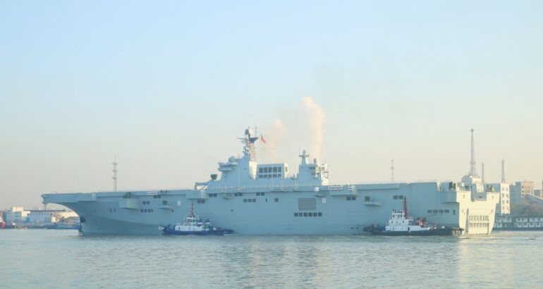 The PLAN's second Type 075 LHD setting sails for initial sea trials.