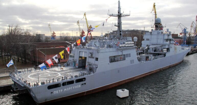 Project 11711 landing ship tank (LST - NATO reporting name: Ivan Gren-class) 'Pyotr Morgunov' during its commissioning ceremony