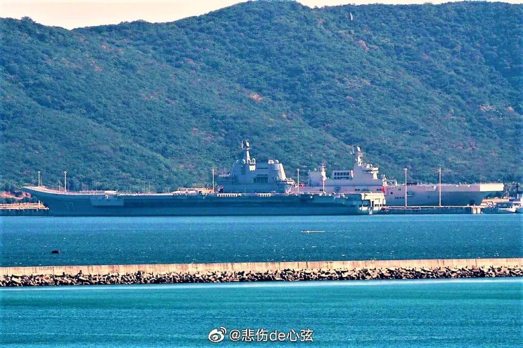 Shandong CV17 Aircraft Carrier with Type 075 LHD Sanya Naval Base Hainan island