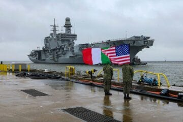 Italian Navy Aircraft Carrier ITS Cavour in Norfolk for F-35B Qualification