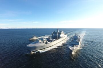Norway's New Replenishment Oiler HNoMS Maud in First at-sea Fuel Transfer