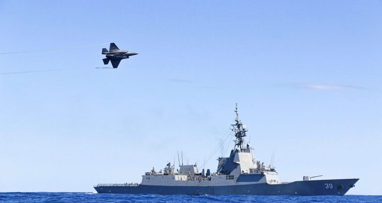 Australia's F-35A Stealth Fighters Exercise with Destroyer HMAS Hobart