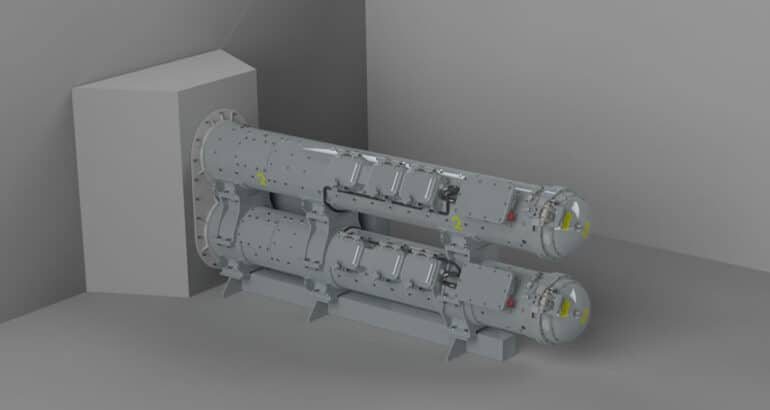 Rendered depiction of the Torpedo Launcher System to be installed as part of the CSC program