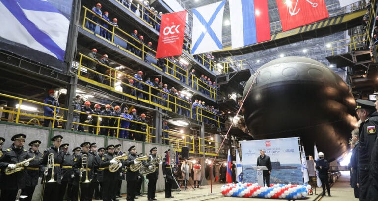 Admiralty Shipyards launches Project 636.3 submarine 'Magadan' for the Pacific Fleet.