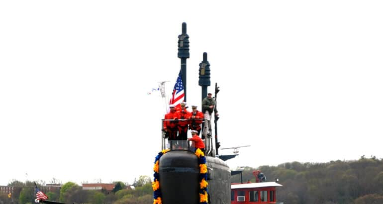 The Virginia-class attack submarine USS Virginia with the AN/BVS-1 optronic systems