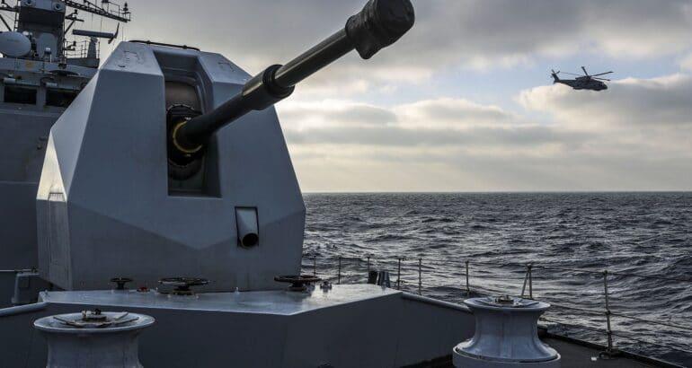 Pictured is HMS St Albans 4.5 inch gun.