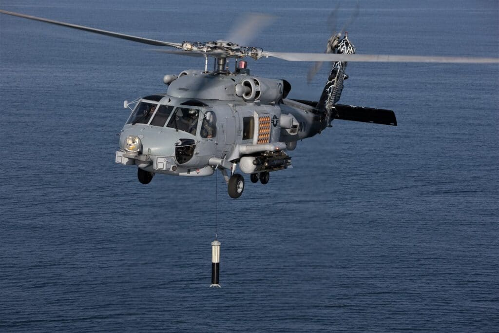 Thales ALFS dipping sonar on MH-60R helicopter Lockheed Martin