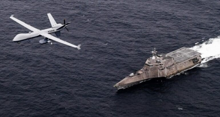 Unmanned aerial vehicle SeaGuardian operates with naval assets