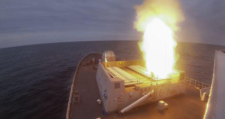 HMS Dragon launching Sea Viper