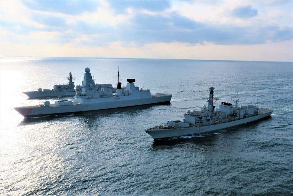 HMS Lancaster HMS Dragon and HMS Argyll
