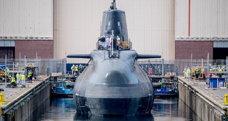 HMS Anson sits in the water for the first time