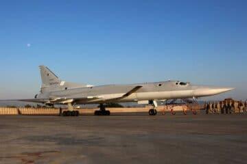 Russian Tu-22M3 bombers perform flights above Eastern Mediterranean